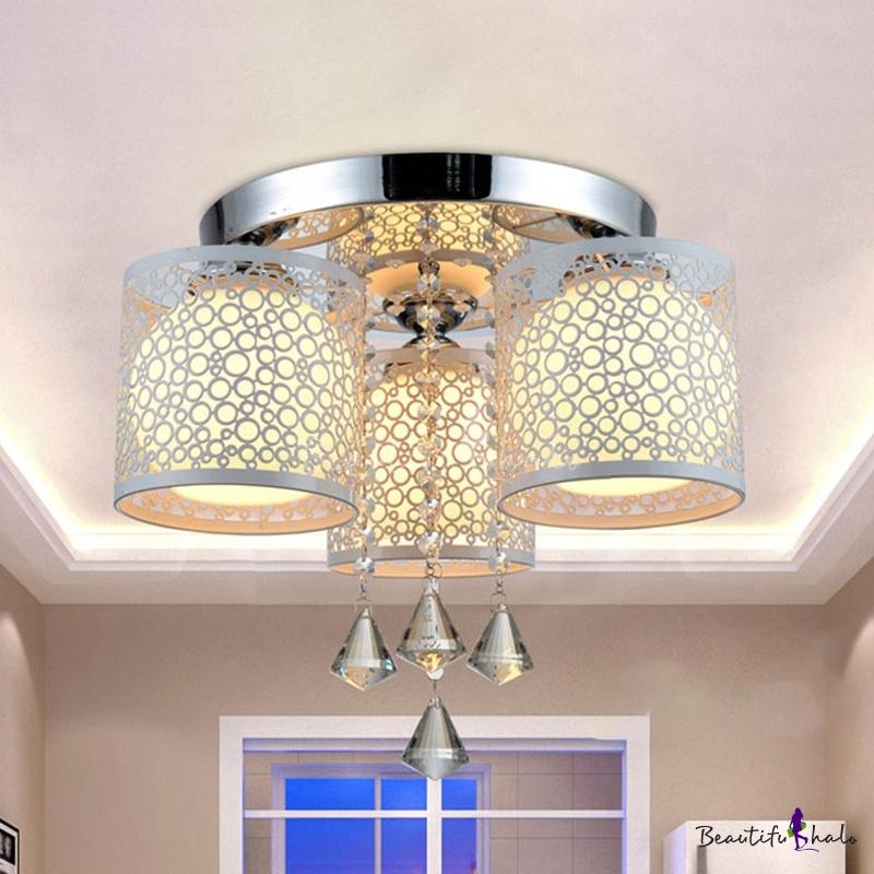 Chrome Wire Cage Ceiling Flush Modern Iron 3/5-Bulb Living Room Semi Flush Mount Light Inner Ball Glass Shade