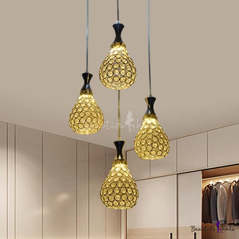 Crystal Teardrop Cluster Pendant Lamp Contemporary 4 Bulbs Living Room Ceiling Light Chrome/Gold