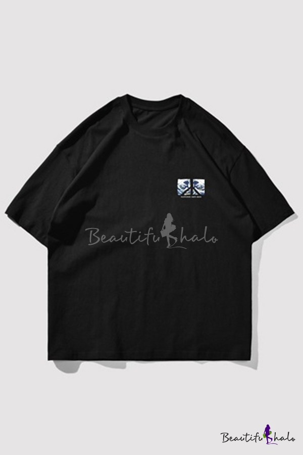 Cool Mens Wave Letter Idea Weapons Will Put Printed Short Sleeve Round Neck Relaxed Fit Graphic T-Shirt