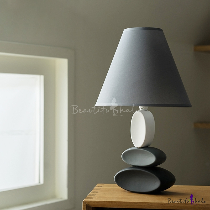Cone Fabric Shade Nightstand Light Creative 1 Light Bedroom Table Lamp In Grey With Stacked Oval Ceramics Base Beautifulhalo Com