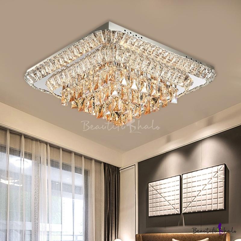 Tiered Square Crystal Flush Mount Modern Style Bedroom LED Flush Mount Ceiling Light Fixture Chrome