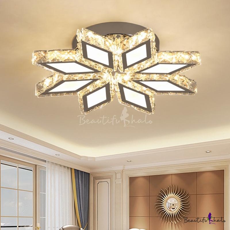 Modern Blossom Flush Mount Light Clear Crystal Living Room LED Ceiling Lighting Chrome, Warm/White Light