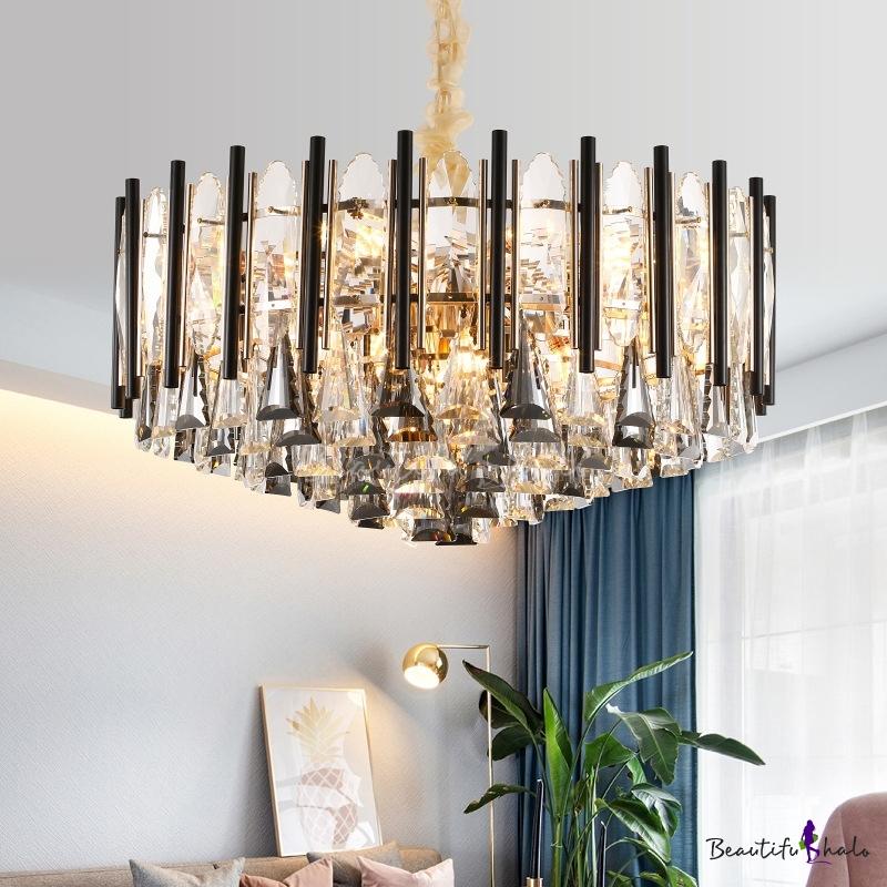 Clear Crystal Cone Lighting Pendant Modern 9 Lights Living Room Chandelier Black