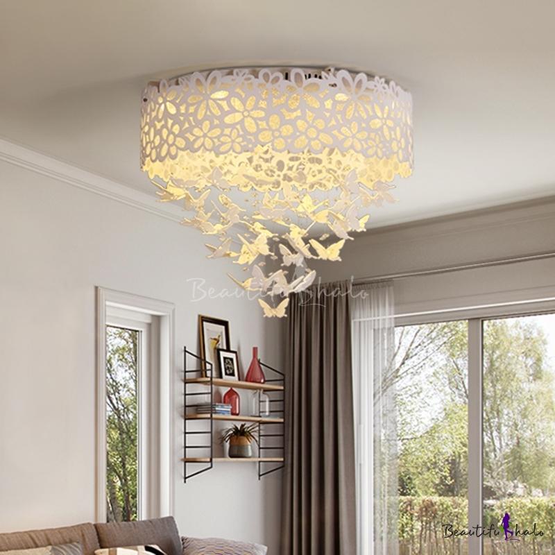 """12.5""""/23.5"""" W LED Ceiling Flush Mount Modern Living Room Flush Light Hollowed Drum Acrylic Shade White"""