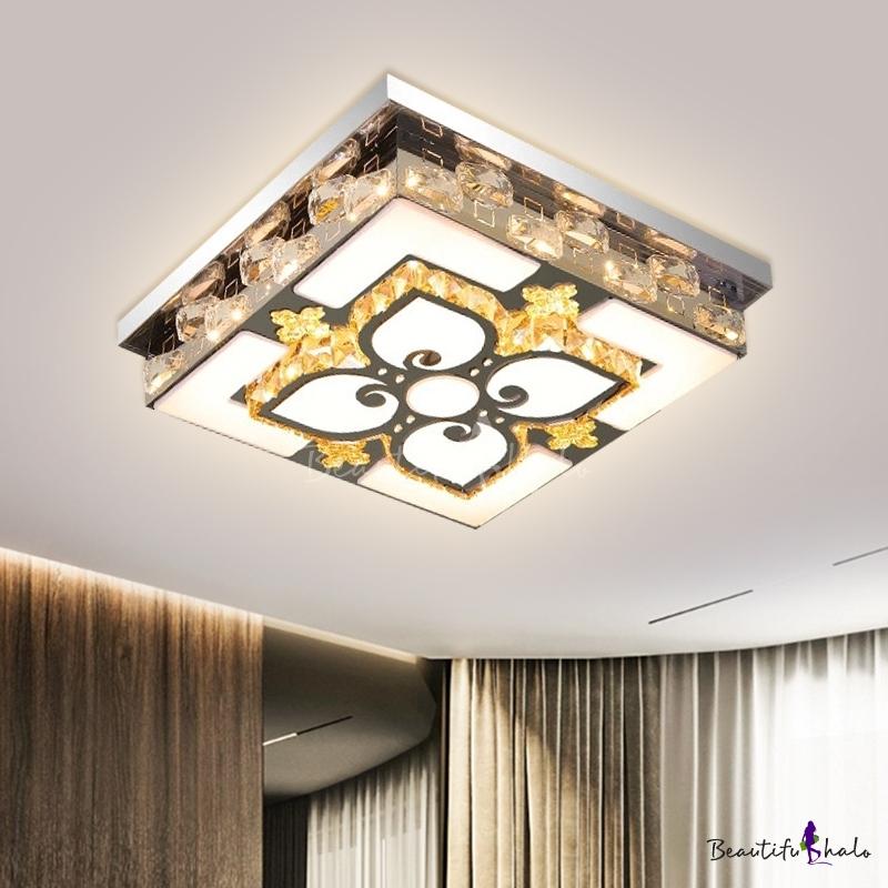 Nickel Rectangle Ceiling Flushmount Lamp Modern Crystal Living Room LED Flush Mount Fixture