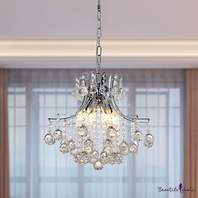 6 Lights Hanging Chandelier Modern Cascading Crystal Orbs Pendant Ceiling Light Chrome
