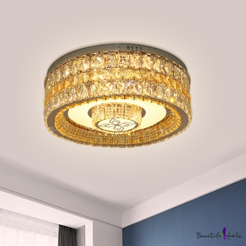 Drum Clear Crystal Encrusted Ceiling Lamp Modern Stylish Living Room LED Flush Mount Fixture