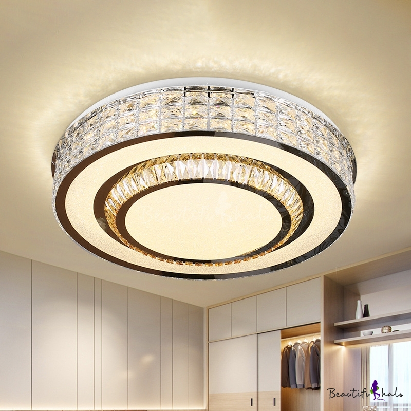 Circle Sleeping Room Ceiling Flush Rectangle-Cut Crystal LED Modern Flush-Mount Light Fixture Chrome