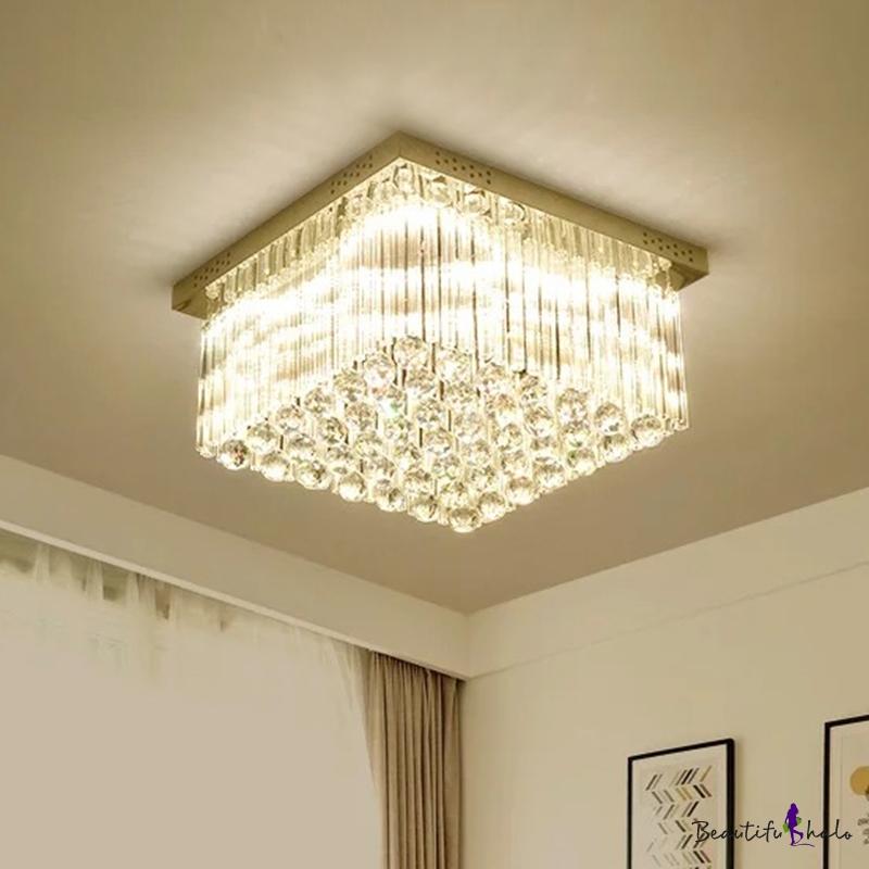Crystal Rod Square Flush Mount Lamp Contemporary LED Chrome Close Ceiling Light Warm/White Light Living Room