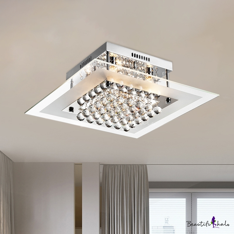 Cubic Crystal Orbs Semi Flush Modern 5-Bulb Living Room Ceiling Mount Light Square Clear Glass Diffuser Chrome