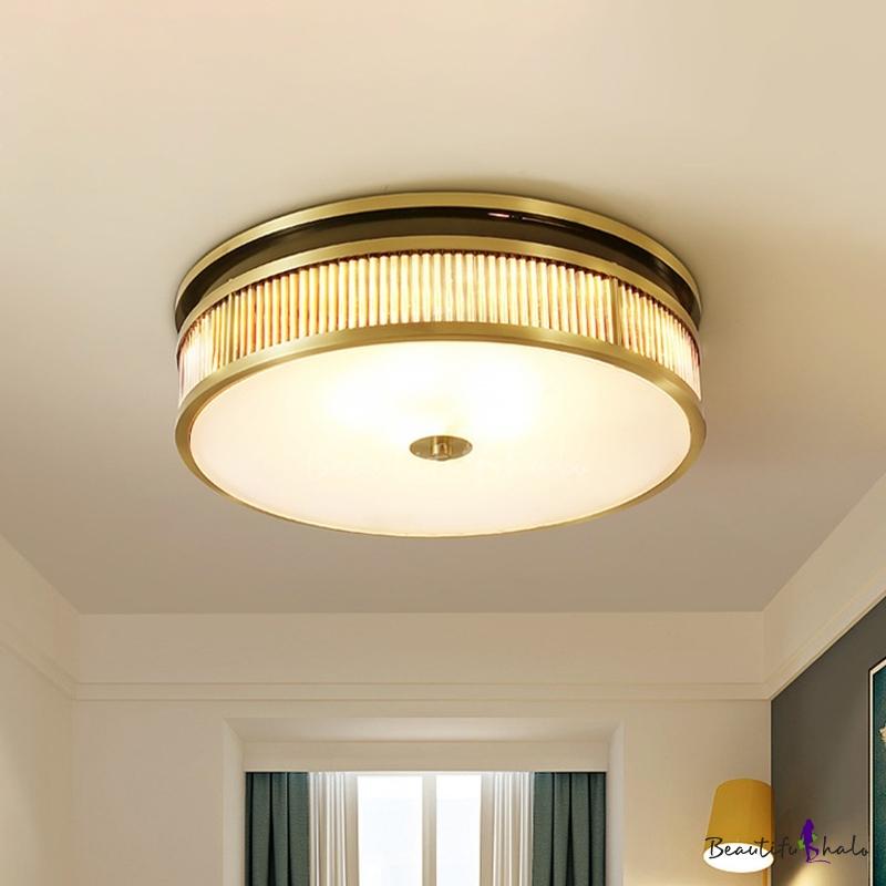 Modern 4 Lights Flush Mount Lamp Brass Drum Ceiling Light Fixture Crystal Shade
