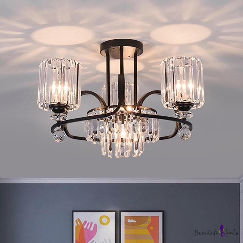 4 Lights Living Room Chandelier Modern Black Pendant Lighting Cylinder Prismatic Crystal Shade