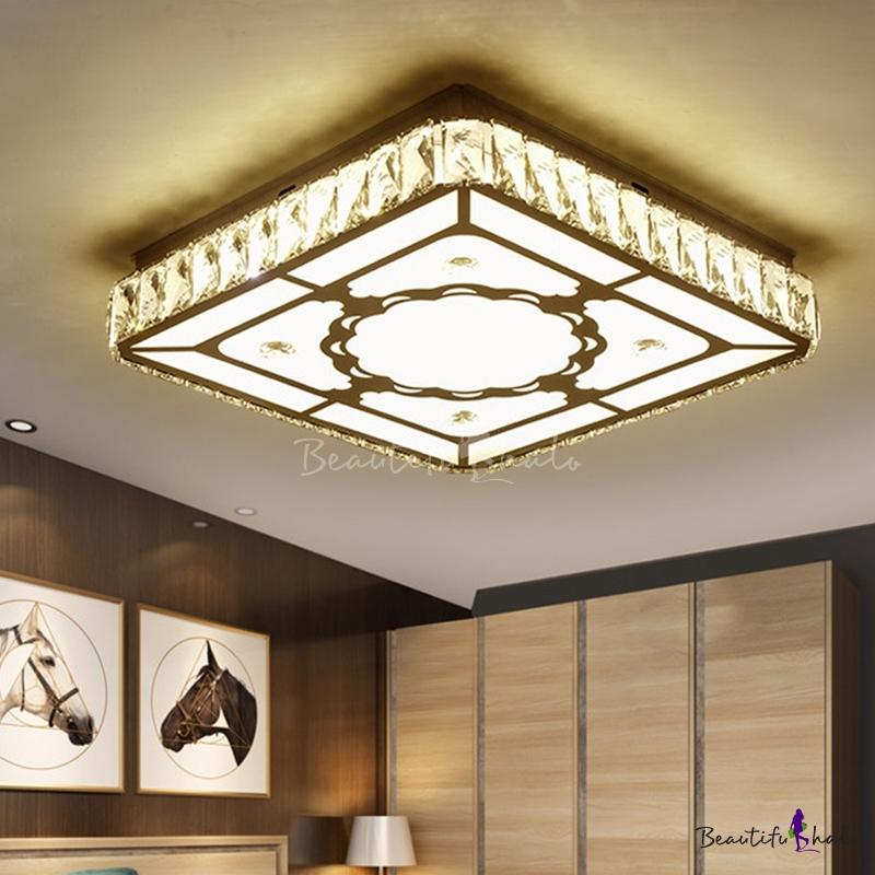 Square Flush Mount Fixture Modernist Crystal Block Living Room LED Close Ceiling Light Chrome Flower Pattern