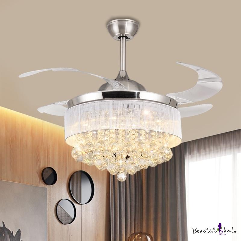 """19"""" W Cascading Fan Lighting Modern Crystal Ball Living Room LED Semi Flush Mount Light Chrome 4 Blades"""