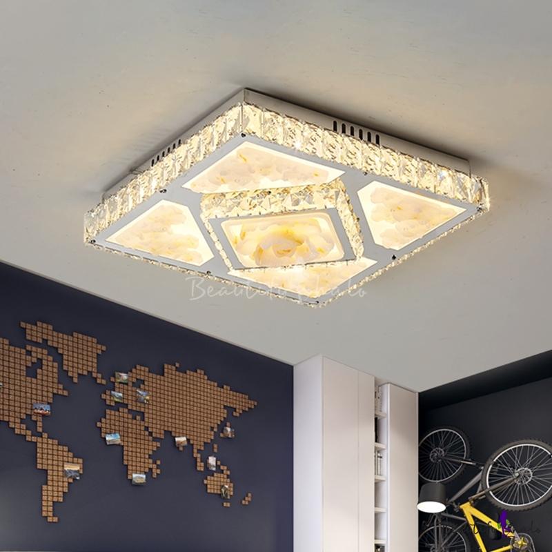 Living Room LED Flush Light Fixture Simple Chrome Floral Patterned Ceiling Flush Square Crystal Shade