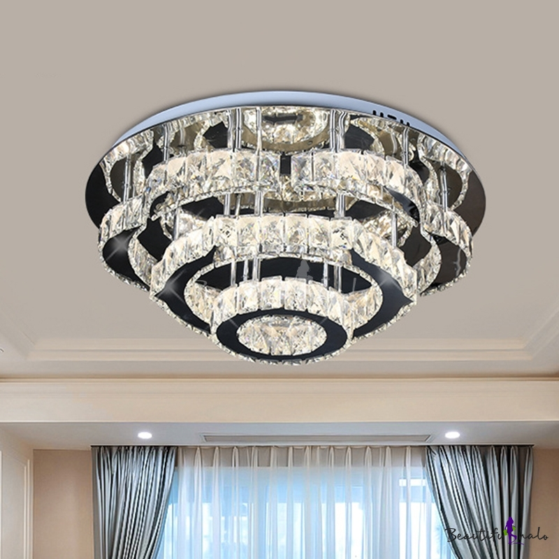 Modern Tiered Semi Mount Lighting Faceted Crystal Living Room LED Ceiling Light Fixture Chrome