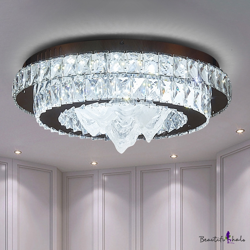 Tiered Beveled Crystal Flush Mount Contemporary Chrome Finish LED Ceiling Light Living Room