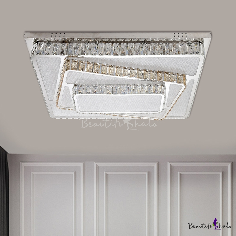 Chrome Rectangle Flush Ceiling Light Contemporary LED Clear Crystal Lighting Fixture Living Room