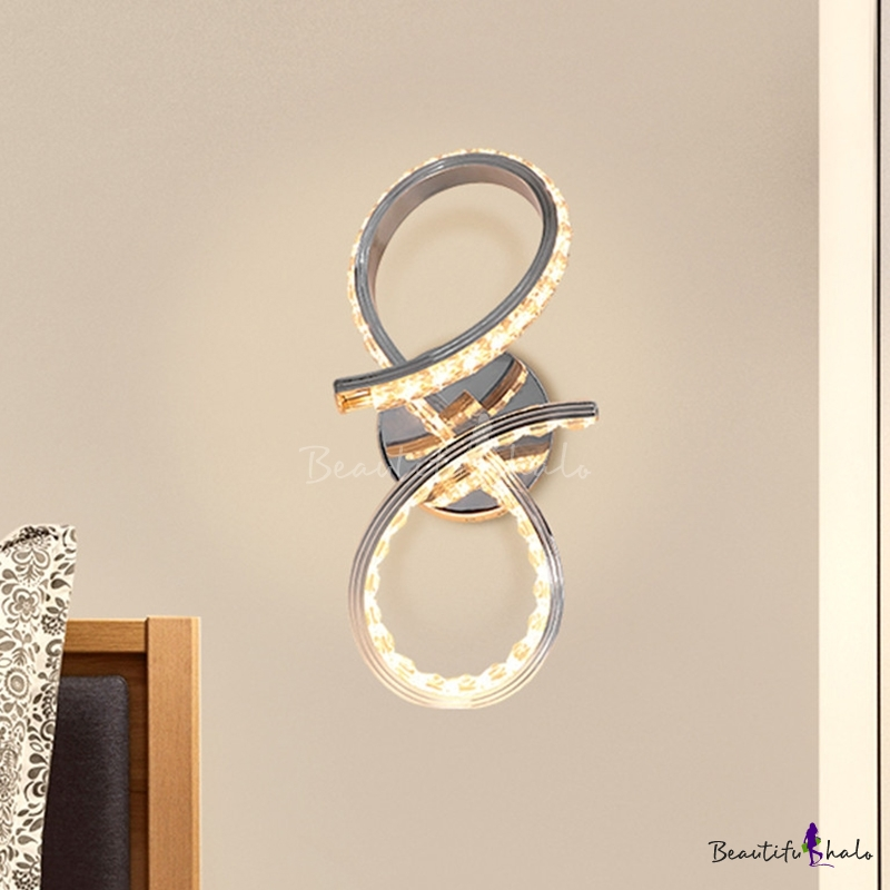 Simplicity Twisted Wall Mount Light Crystal Led Bedroom Wall Sconce In Chrome Warm White Light Beautifulhalo Com