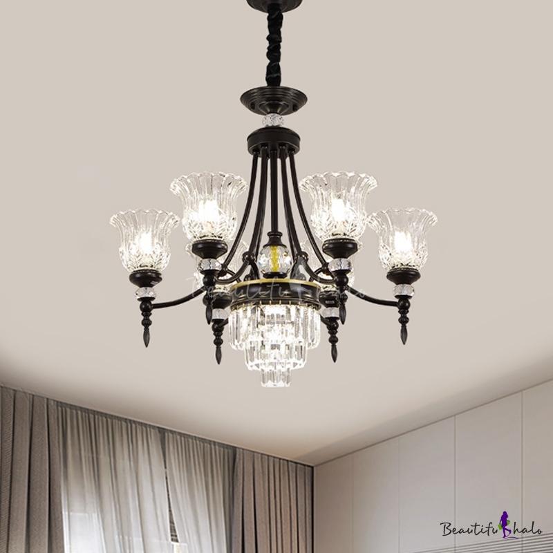 Contemporary Flower Ceiling Hang Fixture Crystal 6/8 Lights Living Room Chandelier Lamp Black Living Room