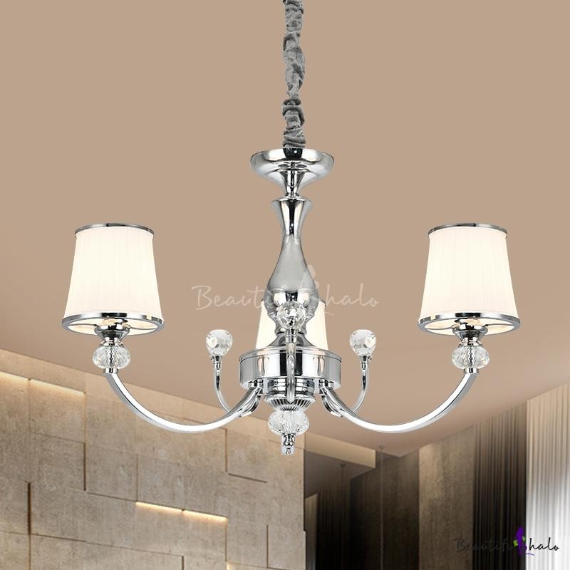 Tapered Milk Glass Pendant Light Modern 3/6-Head Chrome/Gold Chandelier Lamp Living Room