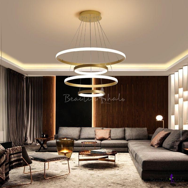 "31.5""/39"" Wide Tiered Chandelier Lamp Modern Metal Brass LED Hanging Ceiling Light Living Room"