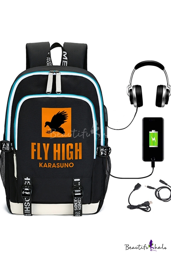 Laptop Backpack Fashionable Crow Letter Pattern Buckle Decorated Anime Haikyuu USB Charge Interface Oxford Laptop Backpack