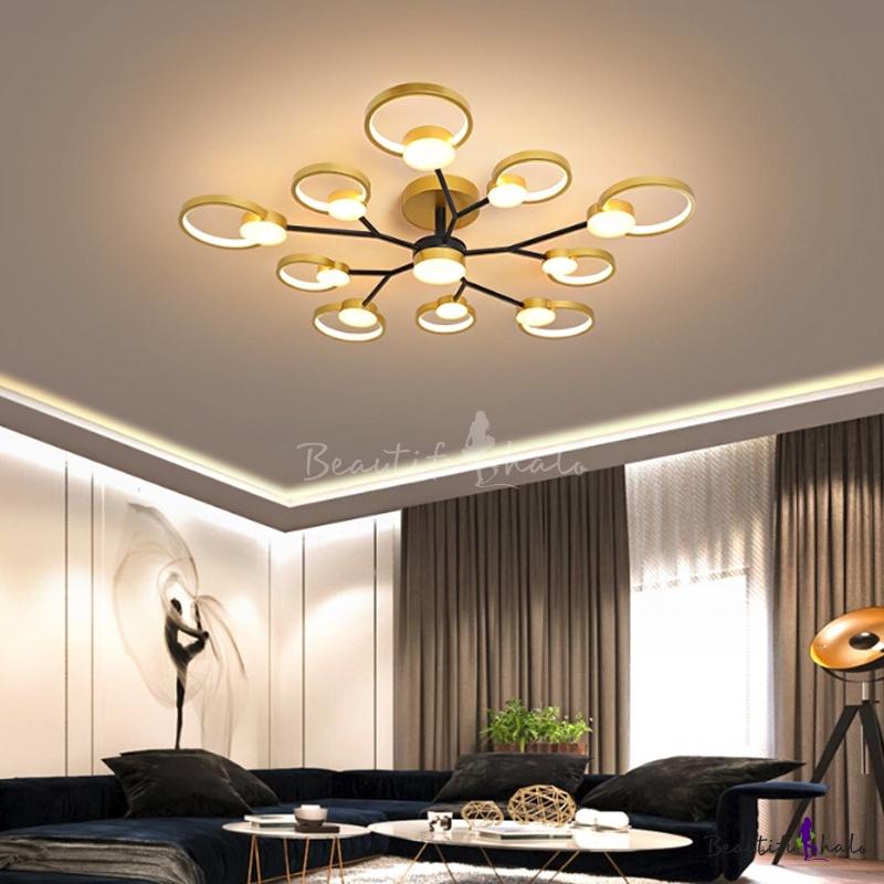 Metal Branch Ceiling Light Modern Black/Gold LED Circular Semi Flush Chandelier Warm/White Light Living Room