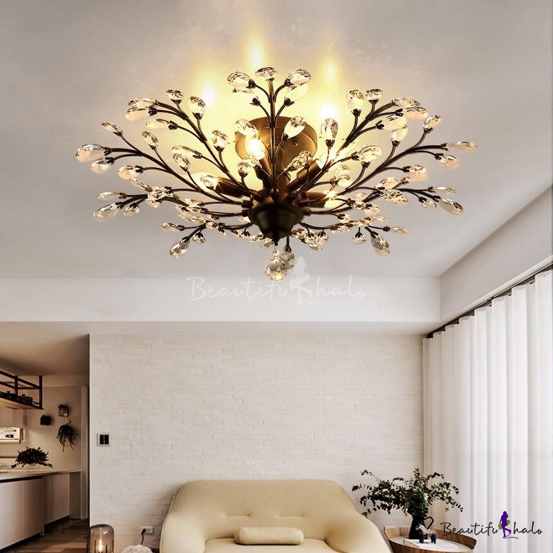 Black/Brass Branch Flush Light Country Crystal 4/5-Bulb Living Room Semi Flush Mount Ceiling Fixture