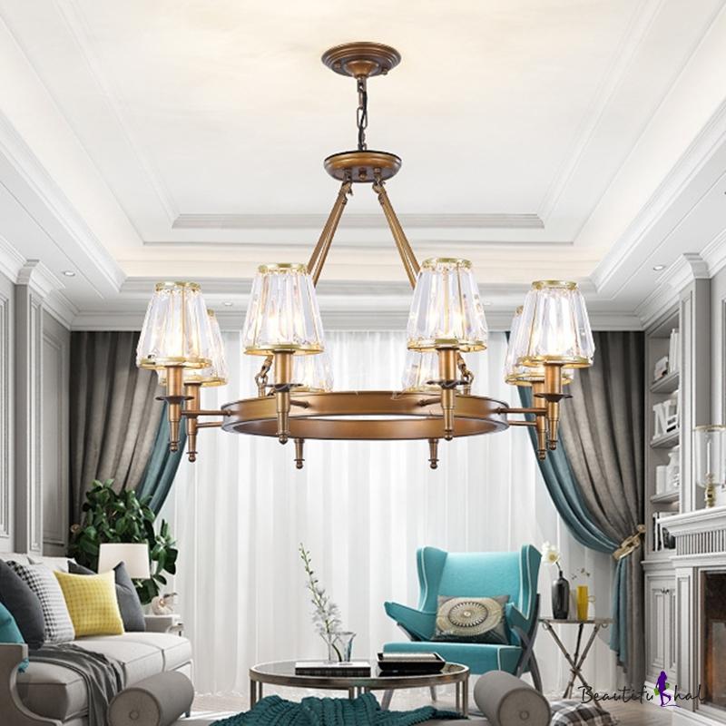 Crystal Rod Black/Brass Pendant Light Tapered 3/6/8 Lights Traditional Ceiling Chandelier Living Room