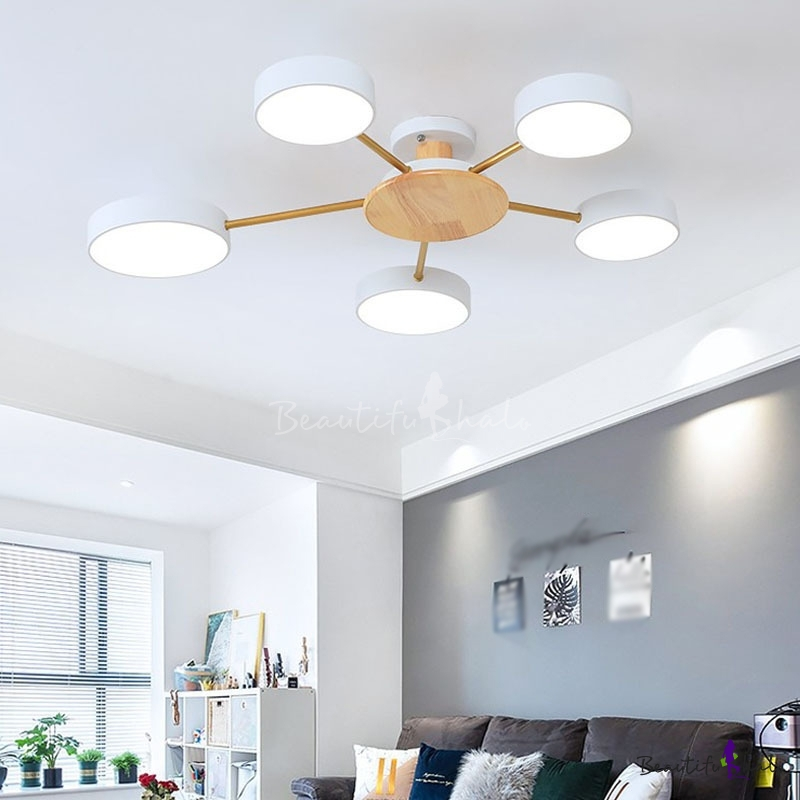 Sputnik Living Room Ceiling Flush Light Wood 5 Lights Nordic LED Semi Flush Mount Black/Grey/White