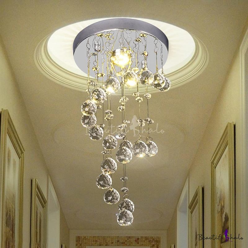 Nickel Round Flush Ceiling Light Simple Metal 1 Head Hallway Flush Mount Lighting Spiral Crystal Drape