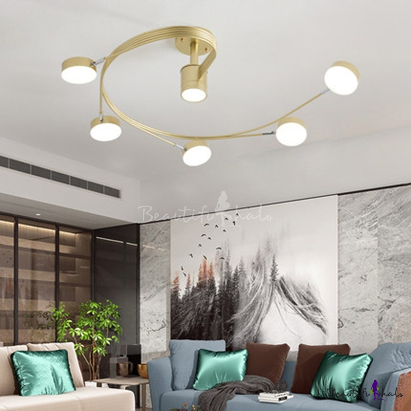 Spiral Metal Semi Flush Light Modern 4/6-Head Black/Gold LED Close Ceiling Lamp Living Room