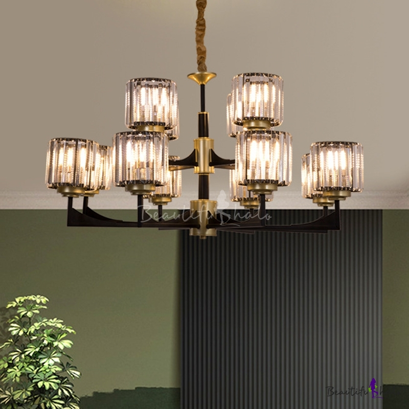 1/2-Tiered Cylindrical Crystal Pendant Modern 4/8/12 Heads Living Room Chandelier Black Brass