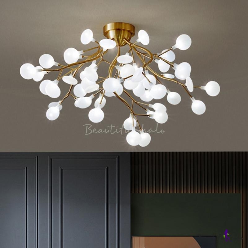 Simplistic Tree Branch LED Semi Flush Metallic Living Room Ceiling Mount Chandelier