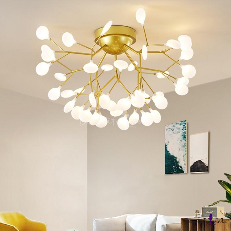 Branch LED Semi Flush Mount Simplicity Metal Living Room Close Ceiling Chandelier