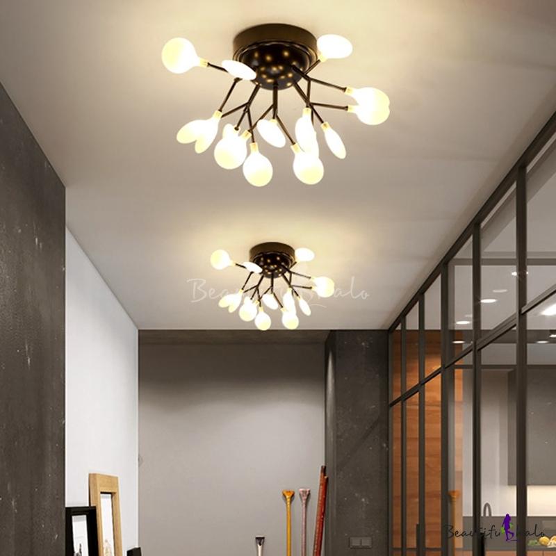 Branch Living Room Flush Mount Chandelier Metal Nordic Style LED Semi Flush Light Fixture Black