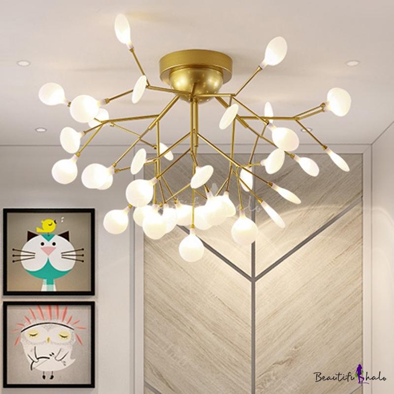 Postmodern Branch Shaped LED Semi Flush Metallic Living Room Ceiling Mount Chandelier