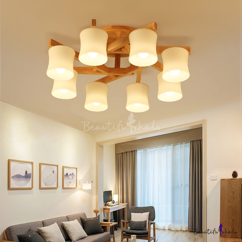 Cylinder Semi Flush Mount Ceiling Fixture Modern White Glass Wood Flush Light Living Room