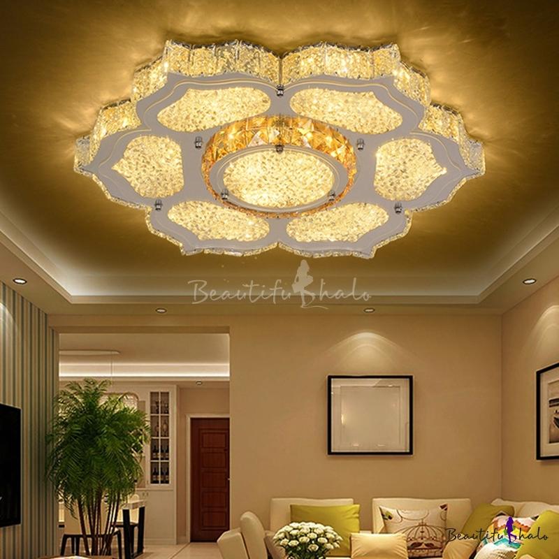 Silver Flower Flush Ceiling Light Modern Crystal LED Flush Mount Fixture Living Room