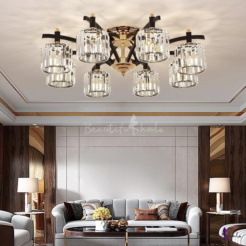 Cylindrical Semi Flush Mount Chandelier Modern Crystal Living Room Ceiling Light Black