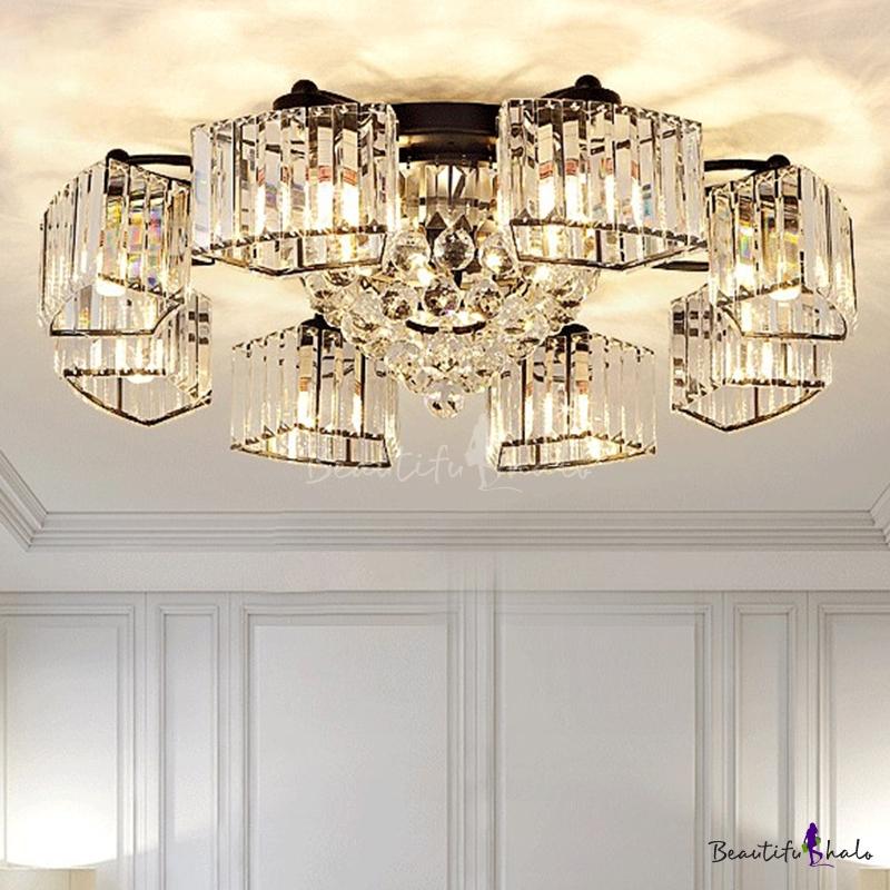 Trapezoid Crystal Flush Mount Lighting Modern Black Semi Flush Ceiling Light Living Room