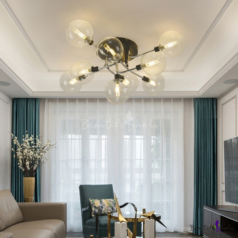 Clear Glass Bubbles Flush Mounted Light Modern Style Semi Flush Mount Ceiling Fixture Living Room