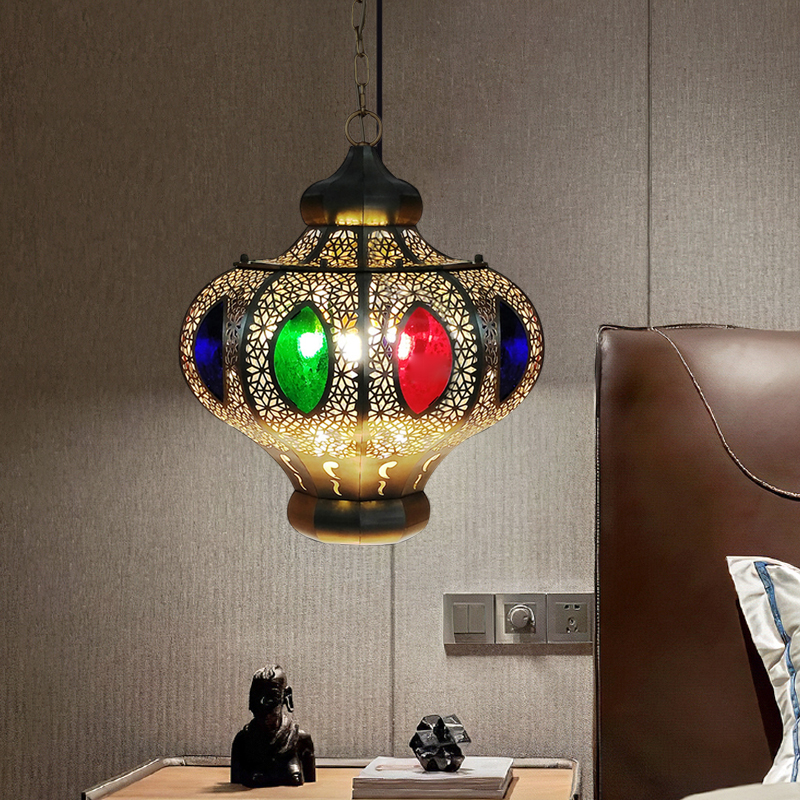 Oval Restaurant Chandelier Light Fixture Decorative Metal 4 Bulbs White/Red Hanging Lamp Kit
