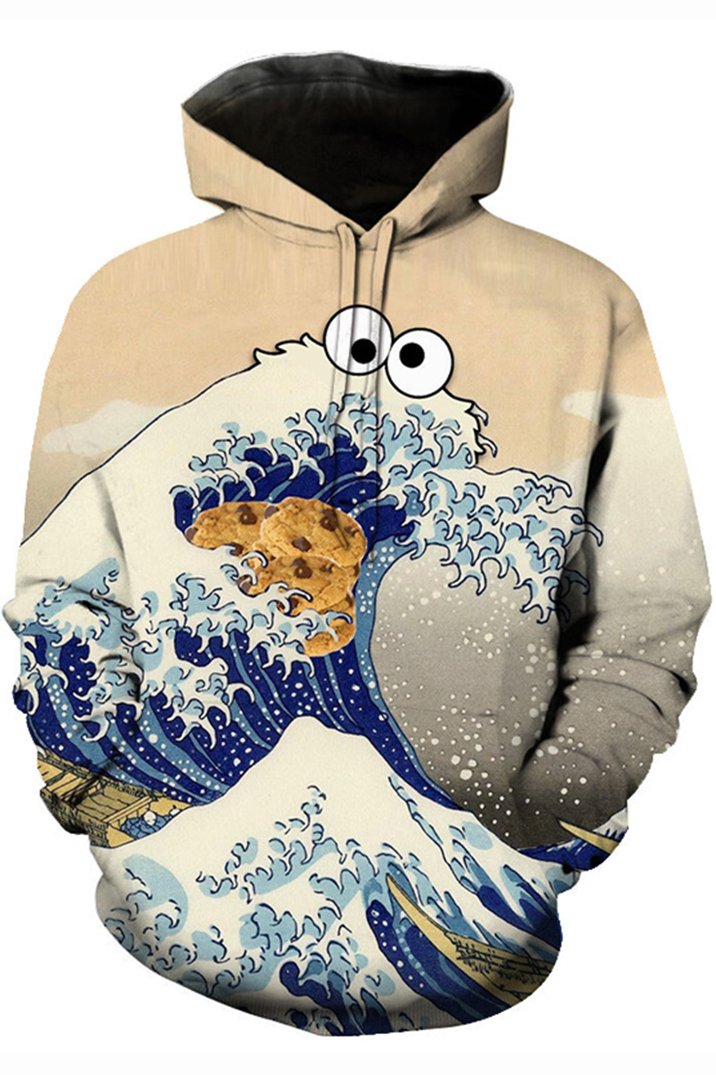 5f3ee6f9 Ukiyo-e 3D Cartoon Wave Cookie Pattern Long Sleeve Pullover Sport Casual  Apricot Hoodie