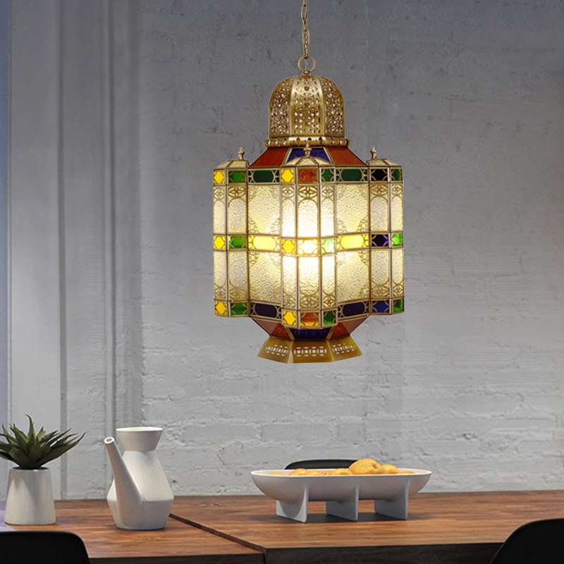 Traditional Castle Chandelier 6 Heads Frosted Glass Ceiling Pendant Lamp in Brass