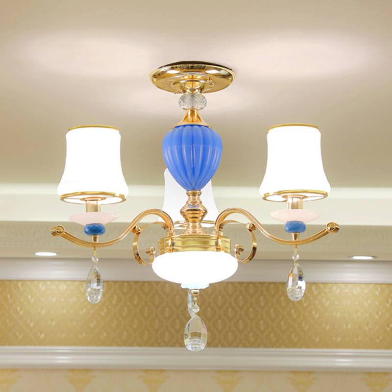 Crystal Bulb Chandelier 3 Piece Frosted