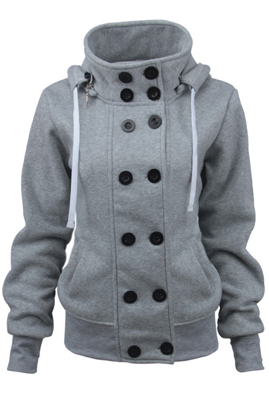 Women's Long Sleeve High Neck Double Breasted Plain Slim Hoodie, Gray