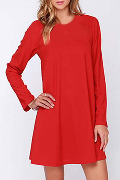 Sexy Mesh Patchwork Long Sleeve Round Neck Plain Mini A-Line Dress, Red