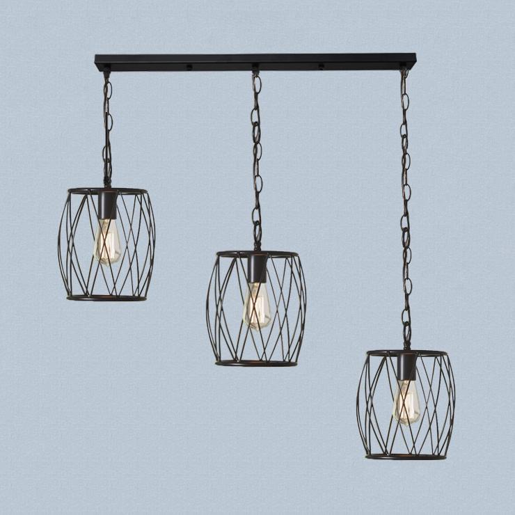 3 Lights Barrel Cage Pendant Light